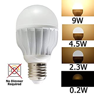 iSmartLED 4 Switchable LED Lighting Levels of 9W/4.5W/2.3W/0.2W, A19 for Medium Base Dimmable Soft White, 60W Equivalent Incandescent Light Bulb, for Type E26, E27, 820lm, Color Temperature 3000K