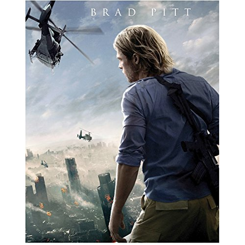 Brad Pitt 8 Inch x 10 Inch PHOTOGRAPH World War Z (2013) Back View on Roof kn