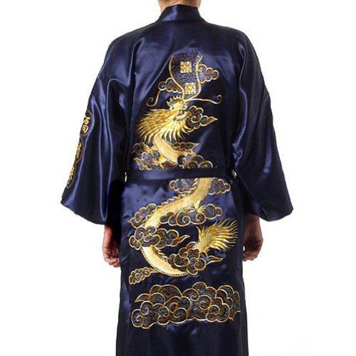 - Chinese Men's Silk Satin Embroider Kimono Robe Gown Dragon (Navy Blue, XXXL)