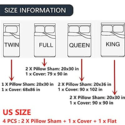 Goldrui Full Bedding Cover Set - Luxury Microfiber Comforter Quilt Cover - Best Organic Modern Style for Kids and Women(3 pcs, Flat Sheet+ 2 Pillowcase): Home & Kitchen