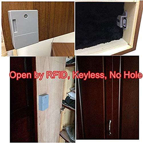 PinShang Serrure de Porte /électrique Intelligente Universelle /à Induction sans Trou /à Piles RFID pour Armoire de Meubles avec cl/é RFID