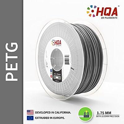 HQA PETG 3D Printer Filament, Silver, 1.75MM, 1KG Spool [Made in Europe]