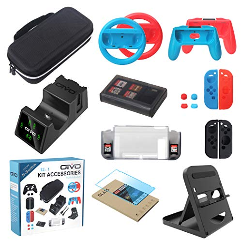 (Bundle Accessories Kit for Nintendo Switch, OIVO 12 in 1 Accessory Kit, Controller Charging Dock, Carry Case, Playstand, Case, Joy-Con Grips and Wheels, Game Card Case, Cover Cases, Caps)