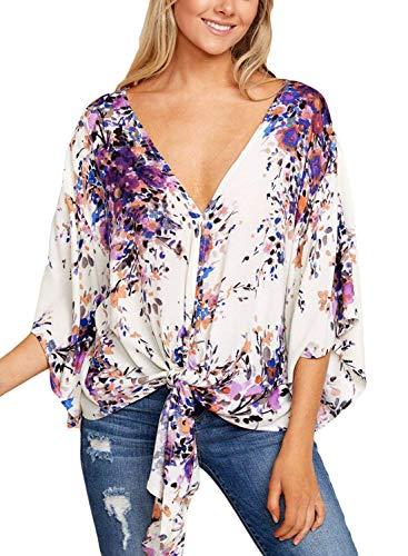 Loisir Vintage Basic Fleur Haut Femme 3 Elgante Chemisiers Shirts Mode Vetement Manches Printemps Nou Cou Et Tops 10 4 Motif Chemise Bouffant V qUFx5wO