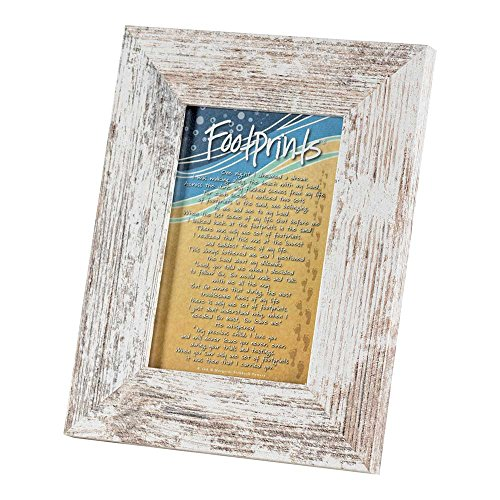 Footprints In The Sand Distressed White 9 x 7 Wood Tabletop Photo Frame]()