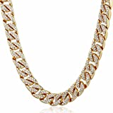 Trendsmax 14mm Mens Womens Chain Hip hop Iced Out Miami Curb Cuban Gold Plated Necklace w Paved Clear Rhinestones