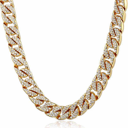Trendsmax 14mm Mens Womens Chain Hip hop Iced Out Miami Curb Cuban Gold Plated Necklace w Paved Clear Rhinestones - Hop Hip Chain Rhinestone