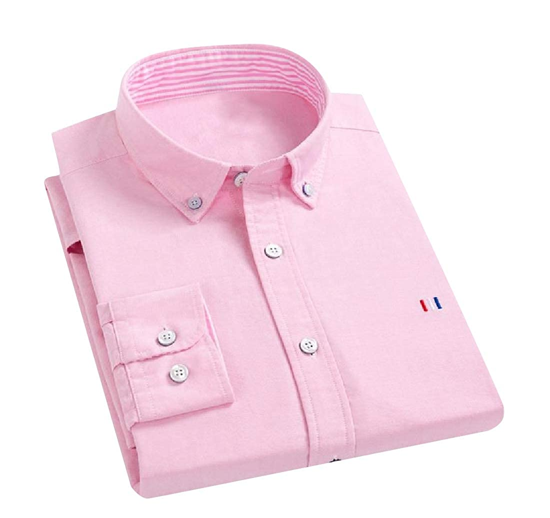 YUNY Men Fit Regular-Fit Non-Iron Single Breasted Shirt Pink M