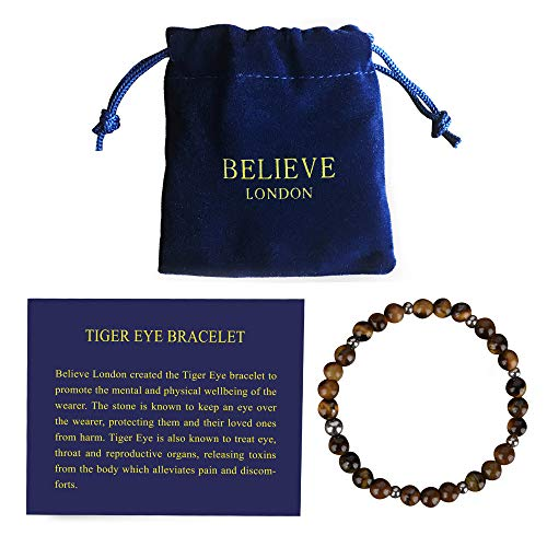 London Tigers - Believe London Tiger Eye Bracelet with Jewelry Bag & Meaning Card | Strong Elastic | Precious Natural Stones Crystal Healing Gemstone Men Women Meditation