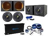 (2) Rockville W12K9D2 12'' 8000w Subwoofers+Vented Sub Box+Mono Amplifier+Amp Kit