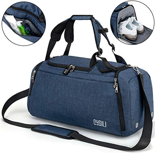 Sports Gym Bag with Shoes Compartment Wet Pocket,42L Travel Duffel Bag with Shoulder Strap