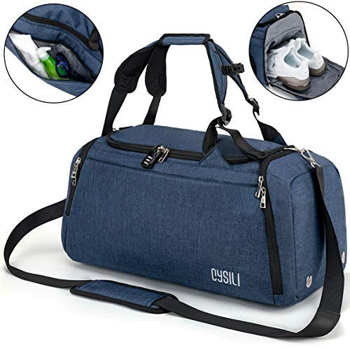 BonClare Sports Duffle Bag with Shoes Compartment and Wet Pocket, 42L Waterproof Gym Bag for Men and Women, Durable Travel Duffel Bag with Shoulder Strap and combination lock (A-Blue)
