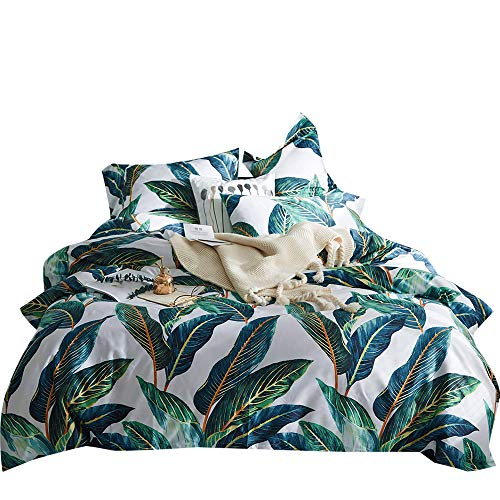 VM VOUGEMARKET Leaves Duvet Cover Set Queen,3 Piece Long Staple Egyptian Cotton Green Comforter Cover with Button Closure,Reversible Silky Tropical Bedding Set-Leaves,Queen