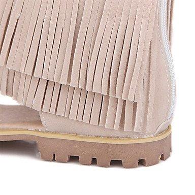 LvYuan Mujer-Tacón Plano-Confort Innovador Gladiador-Sandalias-Vestido Informal-Vellón-Negro Beige beige