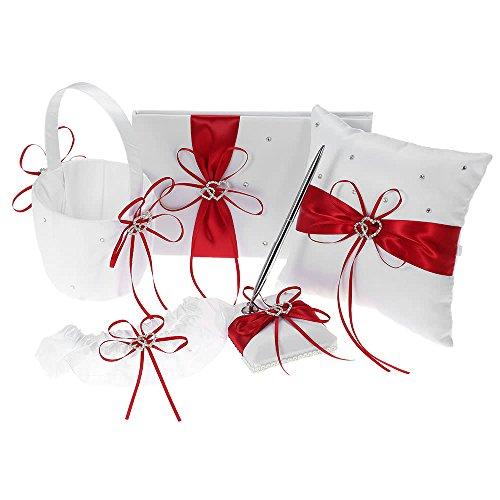 ZHX 5pcs/Set Wedding Supplies Double Heart Satin Flower Girl Basket + 7 7 inches Ring Bearer Pillow + Guest Book + Pen Holder + Bride Garter Set White Red One Size from ZHX
