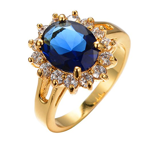 - JBL Promise Vintage Big Oval Blue Birthstone Yellow Gold Filleds Round White AAA Zircon Women Wedding Ring