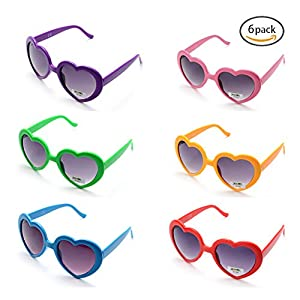 6 Neon Colors Heart Shape Party Favors Sunglasses, Multi Packs (6-Pack)