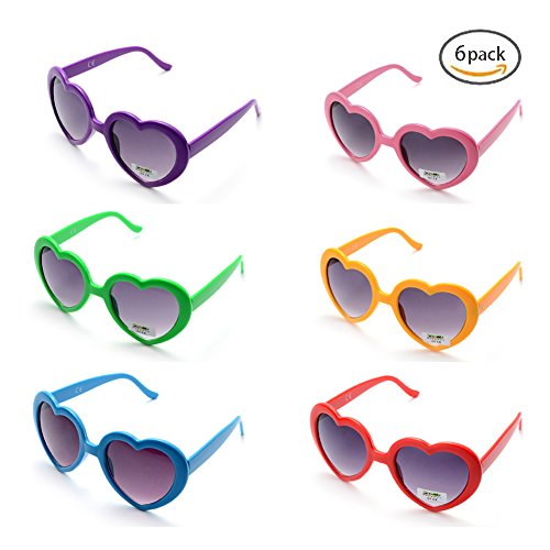 6 Neon Colors Heart Shape Party Favors Sunglasses, Multi Packs - For Kids Heart Shape