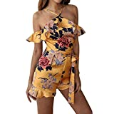 Youth Sexy Jumpsuits, Summer Rompers Women Ruffled Floral Printed Jumpsuits Elegant Sleeveless Playsuit Halter Outfits Yellow M