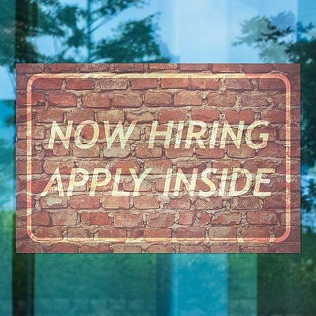 5-Pack Now Hiring Apply Inside Ghost Aged Brick Window Cling CGSignLab 27x18