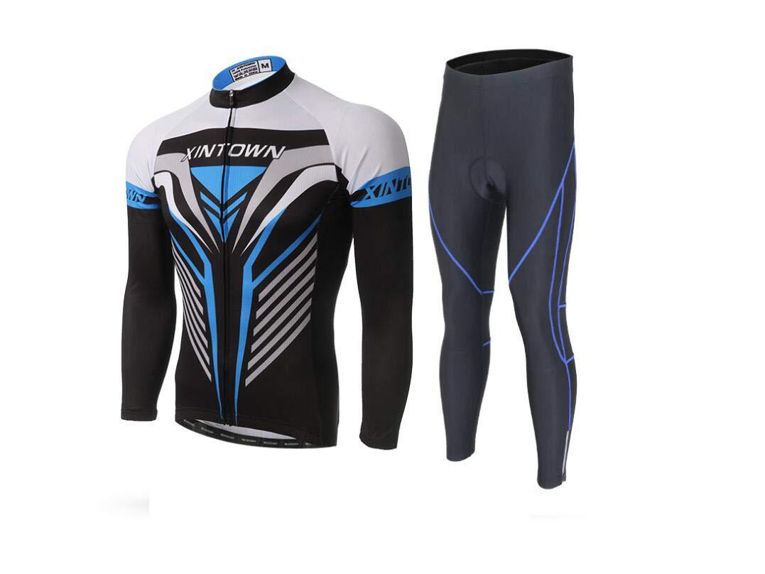 DUBAOBAO XINTOWMEN Männer Langarm Radfahren Set Rennrad Outdoor Sportswear + Italien Importierte Tinte Nicht Verblasst (Blau)
