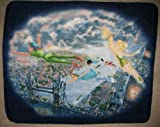 Disney Peter Pan and Tinker Bell Fly to Neverland Fleece Throw Blanket with Finished Edges From The Disney Dreams Collection By Thomas Kinkade