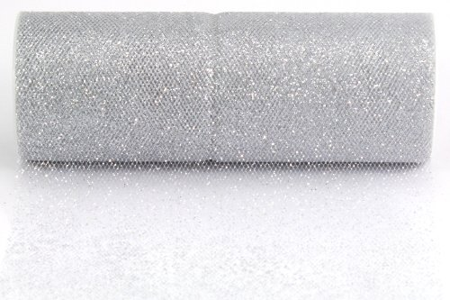 Kel-Toy Glitter Tulle Fabric, 6-Inch by 10-Yard, White/Silver -