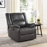 Mainstays Faux Leather Recliner Grey, Dimension: 34.25 x 29.92 x 29.13 Inches