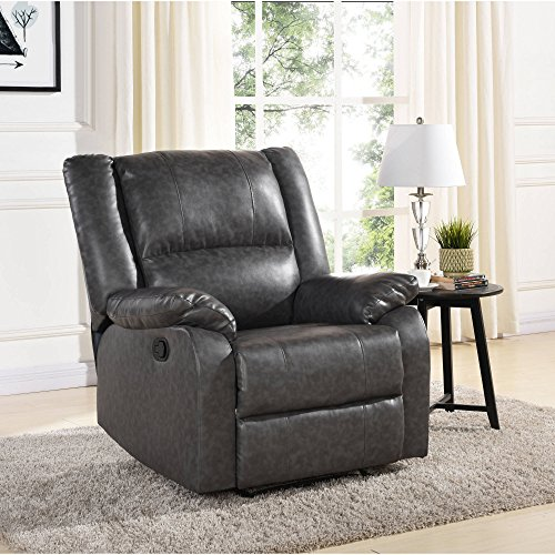 Mainstays Faux Leather Recliner Grey, Dimension: 34.25 x 29.92 x 29.13 Inches by Mainstays