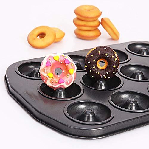 Doughnut Baking Tin, 12 Hole Doughnut Mold, Carbon Steel Cookie Mould, Non-stick DIY Homemade Cake Bake Tray Biscuit Bagel Baking Tool(black) by YOEDAF (Image #6)