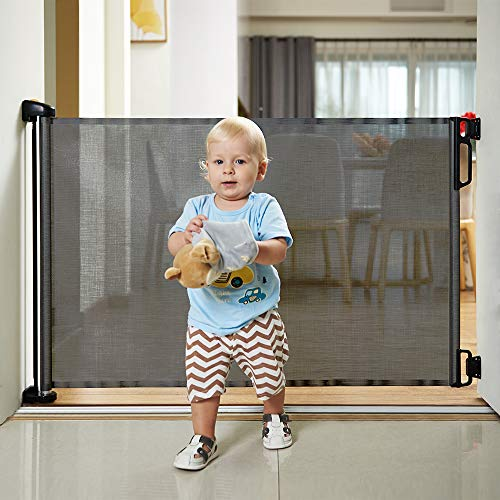 "51wDaL69GpL - EasyBaby Products Indoor Outdoor Retractable Baby Gate, 33"" Tall, Extends Up To 55"" Wide, Grey"