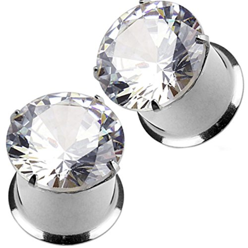 Pair of Prong Set Clear Gem Top Ear Tunnels Plugs Double Flared Steel Gauges - 1G (7mm) (Piercing Ear Gem Pronged Earrings)