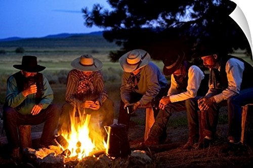 30 Western Campfire (Richard Wear Wall Peel Wall Art Print entitled Group Of Cowboys Around A Campfire 48