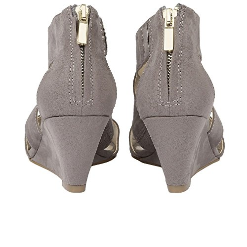 Lotus Women's Cheeney Ankle Strap Wedge Sandals Grey Microfibre pLvvaqip