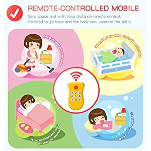 Baby Crib Mobile for Pack and Play, Crib Toys with Lights and Music, Remote,Projector for Girl, Stroller Accessories. Material: ABS+Plastic(Pink-Forest)