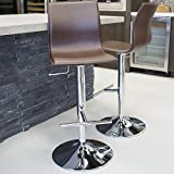 MIX Chrome Faux Leather Brown Adjustable Height Swivel Bar Stool with Round Trumpet Base For Sale