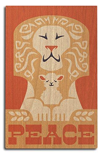 Peace on Earth - Lion - Retro Christmas (10x15 Wood Wall Sign, Wall Decor Ready to Hang) (Hang Ten Peace Sign)