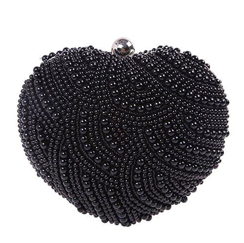 chirrupy Chief forma de corazón perlas mujeres noche bolsa de embrague negro