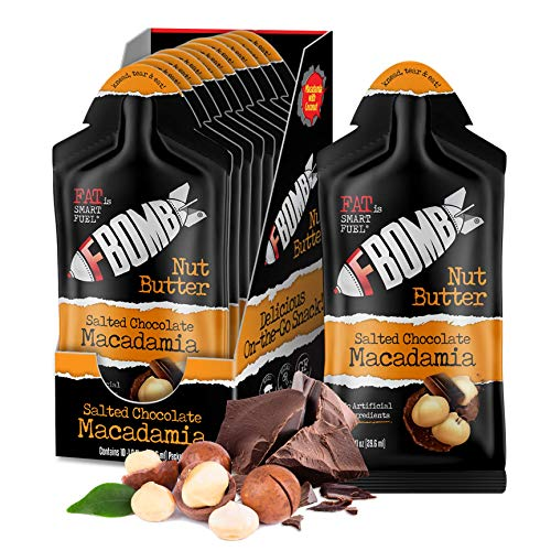 FBOMB Macadamia Nut Butter Packets: Salted Chocolate (10 Pack), Keto Fat Bombs: All-Natural Energy From Healthy Fats…