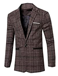 ecbfe04dc3 Winwinus Men's Business Popular Leisure Plaid Suit Jacket Blazer