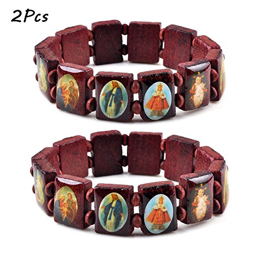 (imixlot 2 PCS Wood Beads Small Squares with Pictures Icons of Jesus Mary and More Saints Bracelet Elastic Adjustable Bangles Free)