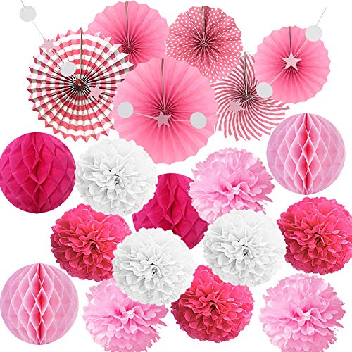 - YOUZAN Tissue Paper Pom Poms Handing Paper Fans and Honeycomb Balls for Party Decoration Kit(20pcs) (Pink)