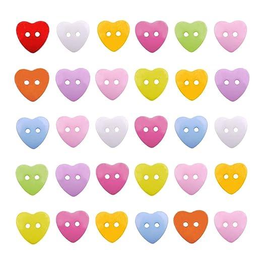 NBEADS 400 pcs Mixed acrílico 14 mm corazón de Costura Botones (2 ...