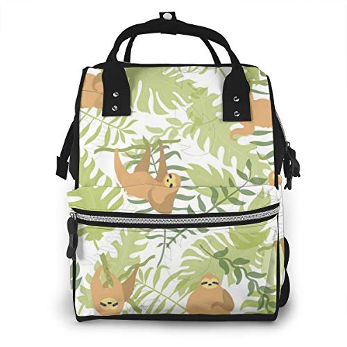Mummy Backpack,Cute Character Sloth Jungle Leaves,Baby Climbing Sloths,Diaper Bag Backpack Waterproof Travel Nappy Bags,Multi-Function Back Pack Organizer Baby Insulated Pockets,Multicolor from PMNADOU