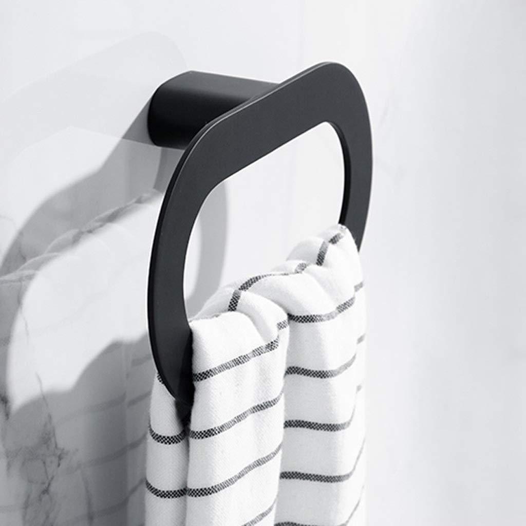 SPLY DTEM Oval Towel Ring - Bathroom Towel Rack - Black Towel Holder, Kitchen Storage - Punch Free