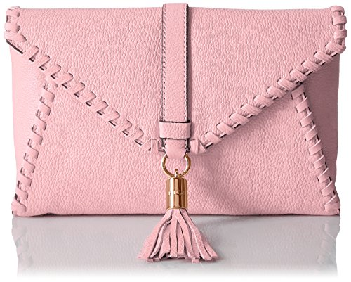 MILLY Astor Whipstitch Foldover Clutch, Blush, One Size