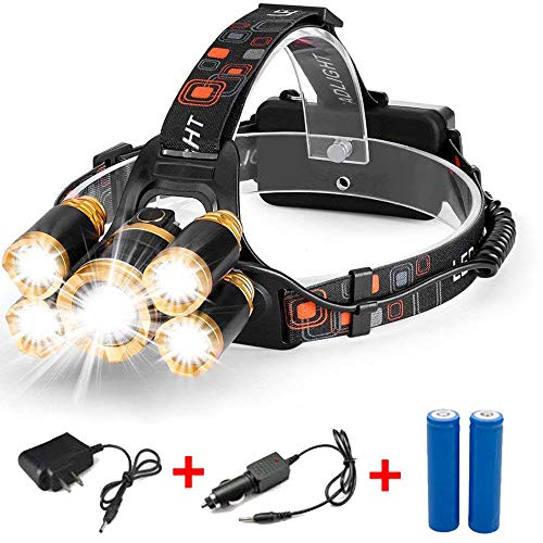 (AVGDeals 80000LM 5-LED Zoom LED Rechargeable 18650 Headlamp Head Light Torch Charger US)