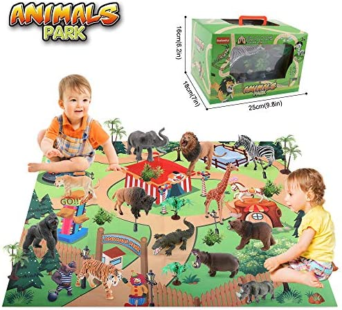 BeebeeRun 24 Piezas Juguetes Animales con Tapete Juego,Figuras Animales Juguete Educativo,Juguetes niños 3 años 4 años 5 años: Amazon.es: Juguetes y juegos
