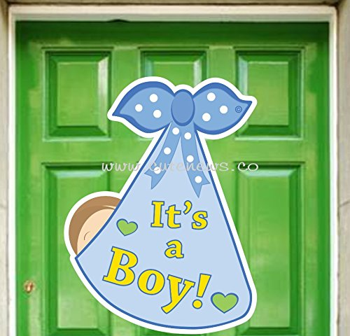 It's a Boy Stork Bundle Baby Door Sign - Welcome Newborn Announcement Hanger - Baby Announcement Sign Baby Boy Door