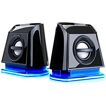 GOgroove 2MX Computer Gaming Speakers with Blue LED Lights , Passive Subwoofer and Volume Control - Great with PC Monitor , 3.5mm USB Connection , AC Powered for Desktop and Laptop Computers